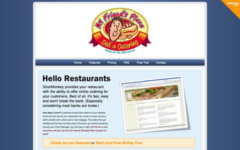 Screenshot of Home Page dinermonkey.com - Welcome to DinerMonkey - captured Oct. 5, 2014