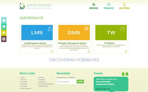 Screenshot of Products Page moftak.com - Products - captured Oct. 1, 2014