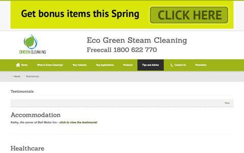 Screenshot of Testimonials Page greensteamcleaning.com.au - Testimonials - Green Steam Cleaning - captured Sept. 30, 2014