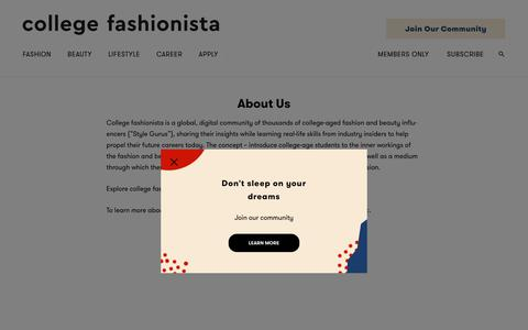 Screenshot of About Page collegefashionista.com - About Us - College Fashionista - captured July 19, 2018