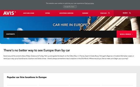 Screenshot of avis.co.uk - Car hire in Europe with Avis premium car rentals - captured Oct. 28, 2017