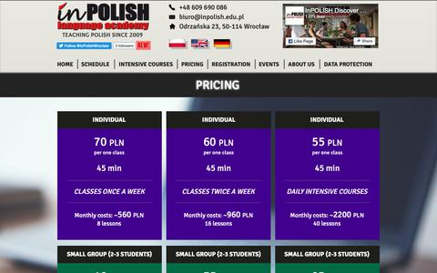 Screenshot of Pricing Page inpolish.edu.pl - Pricing | InPolish Language Academy | Wroclaw - captured Sept. 30, 2018
