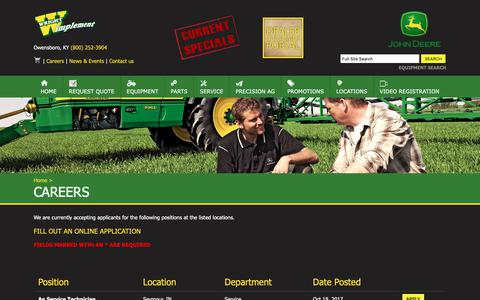 Screenshot of Jobs Page wrightimp.com - Wright Implement - Careers - captured Oct. 18, 2018