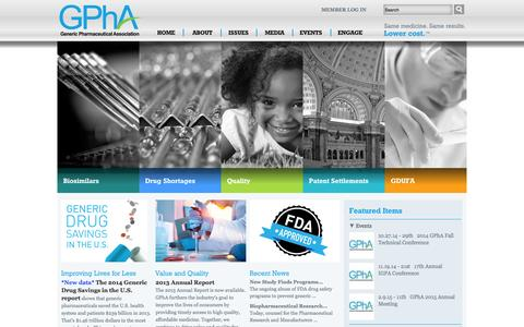 Screenshot of Home Page gphaonline.org - GPhA Website | Generic Pharmaceutical Association - captured Oct. 2, 2014