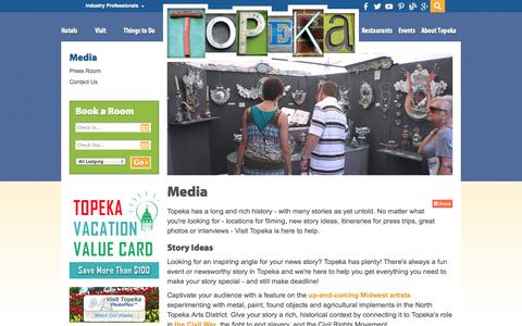 Screenshot of Press Page visittopeka.com - Media Resources in Topeka | Press Releases, Story Ideas, Photo Contact - captured Oct. 9, 2014