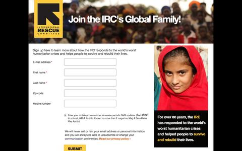 Screenshot of Landing Page rescue.org - Join the IRC's Global Family! | International Rescue Committee - captured Nov. 27, 2016