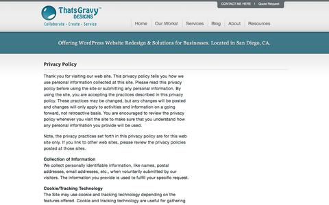 Screenshot of Privacy Page thatsgravydesigns.com - Privacy Policy - captured Dec. 22, 2016