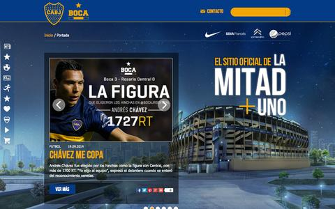 Screenshot of Home Page bocajuniors.com.ar - Sitio Oficial Club Atlético Boca Juniors - captured Sept. 22, 2014