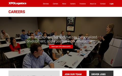 Screenshot of Jobs Page xpo.com - Careers | XPO Logistics - captured March 9, 2016