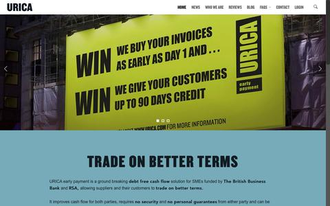 Screenshot of Home Page urica.com - URICA | Business on Better Terms - captured Sept. 16, 2015