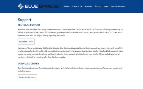 Screenshot of Support Page bluebamboo.com - Support | Blue Bamboo | Shanghai, China - captured July 29, 2016