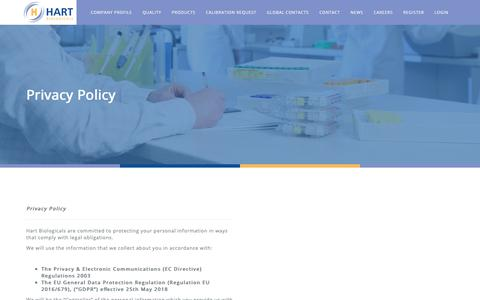 Screenshot of Privacy Page hartbio.co.uk - Privacy Policy — Hart Biologicals - captured Sept. 27, 2018