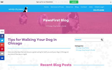Screenshot of Blog windycitypaws.com - A Chicago Dog Owner's Guide - Blog - Windy City Paws - captured Feb. 14, 2016