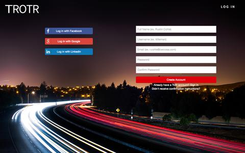 Screenshot of Signup Page trotr.co - Trotr - captured Oct. 9, 2014