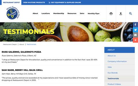 Screenshot of Testimonials Page restaurantdepot.com - Testimonials | Restaurant Depot - captured Dec. 20, 2018