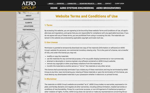 Screenshot of Terms Page theaerogroup.net - Terms Of Use  |  The AERO Group - captured Oct. 4, 2014