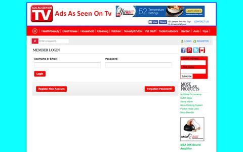 Screenshot of Login Page adsasseenontv.com - As Seen On Tv Products-AdsAsSeenOnTv.com - captured May 30, 2016