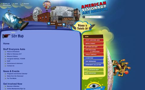 Screenshot of Site Map Page avam.org - American Visionary Art Museum - Site Map - captured Feb. 6, 2016
