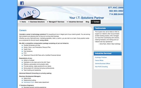 Screenshot of Jobs Page ancsite.com - Careers in Technology with Advanced Network Consulting So Cal Inc. - captured Oct. 4, 2014