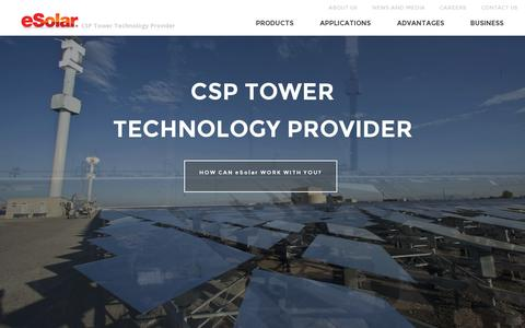 Screenshot of Home Page esolar.com - Concentrated Solar Power Tower Technology Provider • eSolar - captured July 11, 2014