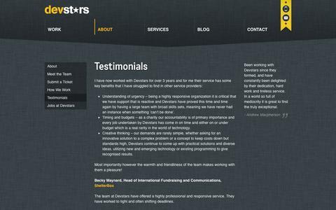 Screenshot of Testimonials Page devstars.com - Testimonials   Devstars Website - captured Sept. 30, 2014