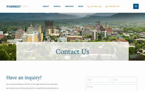 Screenshot of Contact Page forrestfirm.com - Contact Us - Forrest Firm - captured July 11, 2019