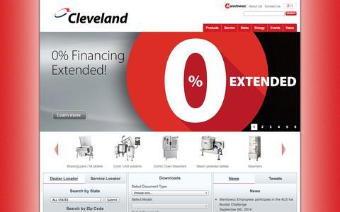 Screenshot of Home Page clevelandrange.com - Leading steam cooking equipment manufacturer - Cleveland Range - captured Sept. 29, 2014