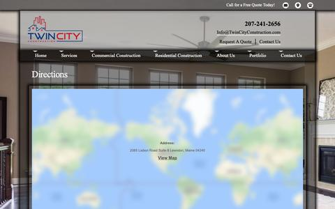 Screenshot of Maps & Directions Page twincityconstruction.com - Twin City Construction Directions - captured Oct. 18, 2018