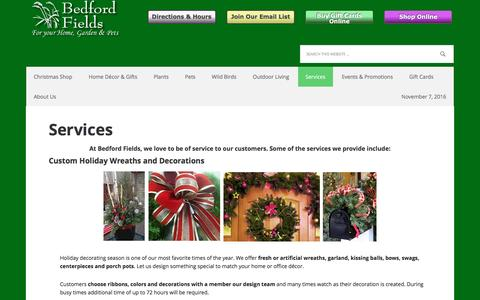 Screenshot of Services Page bedfordfields.com - Services | Bedford Fields Home & Garden Center - captured Nov. 8, 2016