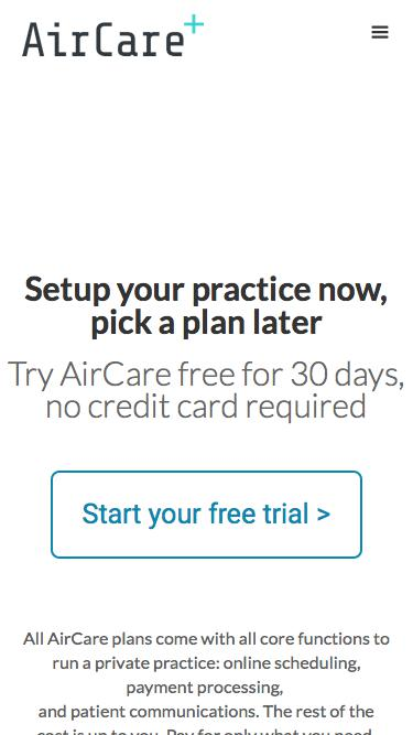 Screenshot of Pricing Page  air.care - Orchestra One Pricing
