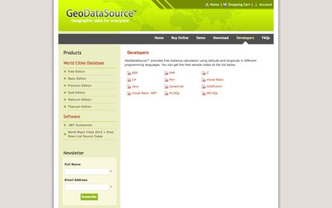 Screenshot of Developers Page geodatasource.com - Developers | GeoDataSource World Cities Database - captured Nov. 3, 2014