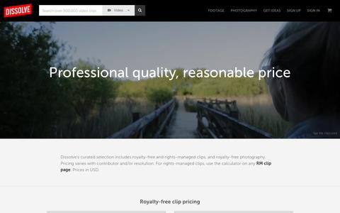 Pricing - Stock Footage, Stock Photos - Dissolve