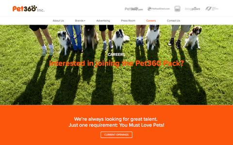 Screenshot of Jobs Page pet360inc.com - Careers - Pet360 Inc - captured March 1, 2016