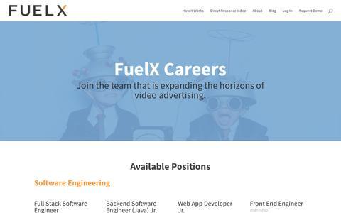 Screenshot of Jobs Page fuelx.com - Careers | FuelX - captured Jan. 31, 2017