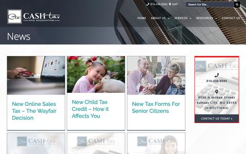 Screenshot of Press Page cashtaxandaccounting.com - News | Cash Tax & Accounting - captured Sept. 27, 2018