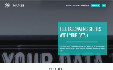Screenshot of Home Page mapize.com - Mapize -Dataviz & Mapping Company - captured Sept. 30, 2014