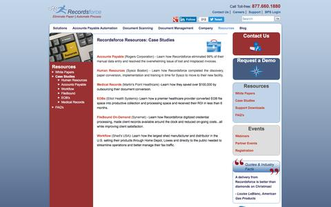 Screenshot of Case Studies Page recordsforce.com - Case Studies | Recordsforce - captured Nov. 29, 2016