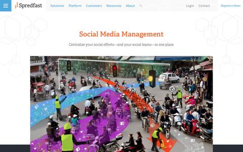 Screenshot of spredfast.com - Manage social interactions at scale to reach the people that matter most | Spredfast - captured Oct. 28, 2016