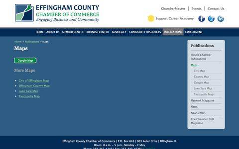 Screenshot of Maps & Directions Page effinghamcountychamber.com - Maps | Effingham County IL Chamber of Commerce - captured June 27, 2016