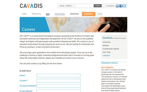 Screenshot of Jobs Page cavadis.com - Cavadis | developing diagnostic tests for cardiovascular disease - Careers - captured Sept. 29, 2014