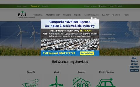 Screenshot of Home Page eai.in - India Renewable Energy Consulting - Solar, Biomass, Wind, Cleantech - captured Sept. 24, 2018