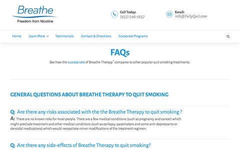 Screenshot of FAQ Page quitwithbreathe.com - FAQs – Quit Smoking with Breathe Therapy – Minnesota - captured Nov. 23, 2016