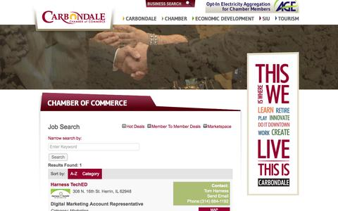 Screenshot of Jobs Page carbondalechamber.com - Job Search - Chamber of Commerce - Carbondale Chamber of Commerce - captured Oct. 22, 2014