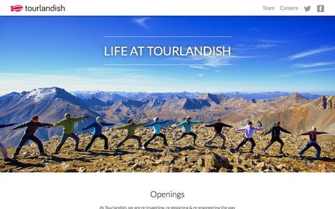 Screenshot of Jobs Page tourlandish.com - Life at Tourlandish - captured Sept. 22, 2014