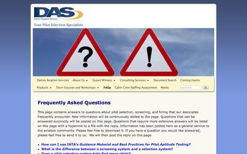 Screenshot of FAQ Page damosaviation.com - FAQs - Damos Aviation Services - captured Nov. 23, 2016