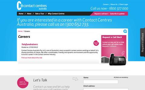 Screenshot of Jobs Page contactcentres.com.au - Careers | Contact Centres Australia - captured Oct. 1, 2014