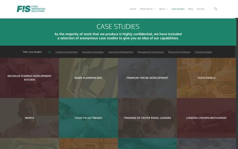 Screenshot of Case Studies Page foodinnovationsolutions.com - Case Studies | - captured Sept. 30, 2014