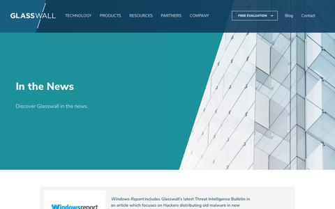 Screenshot of Press Page glasswallsolutions.com - In the News | Glasswall - captured July 12, 2019