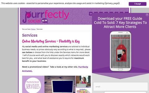 Screenshot of Services Page purrfectlysocial.co.uk - Online Marketing | Social Media Management | Social Media Training | - captured July 24, 2018