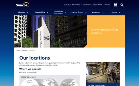 Screenshot of Locations Page suncor.com - Locations – Careers - Suncor - captured April 20, 2019